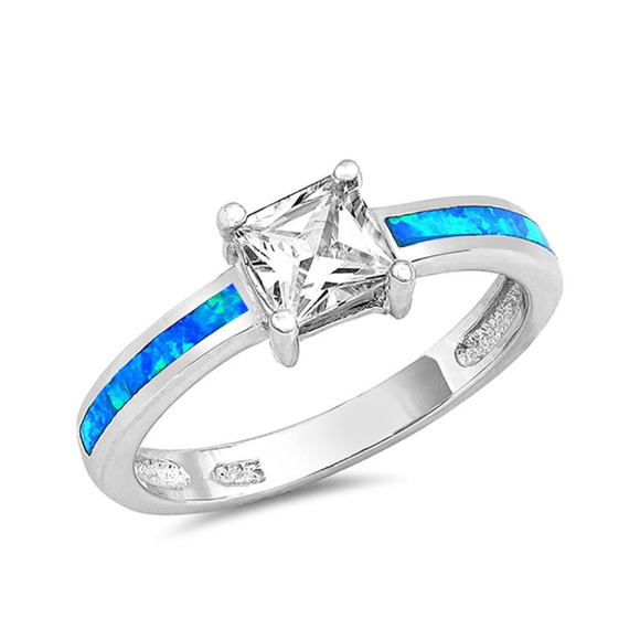 wedding ring princess cz round lab light blue opal - Blue Wedding Ring